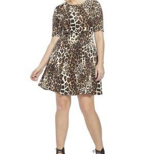 2X Karen Kane Animal Leopard Print Scuba Dress